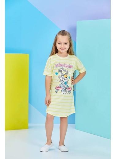 Bugs Bunny Lola Bunny Lisanslı Sarı Kız Çocuk Gecelik Sarı